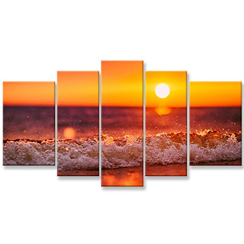 Artwork Set (Canvas Wall Art Paintings For Home Decor Sunset Sea Wave Water Spray Picture 3 Pieces Modern Giclee Framed Artwork The Pictures For Living Room Decoration Beach Waves Seascape Photo Prints On Canvas)