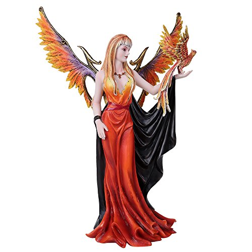 Mystical Witch - Pacific Giftware Golden Phoenix Rising Taking Flight With Mystical Witch Fairy Collectible Figurine 15 Inch Tall