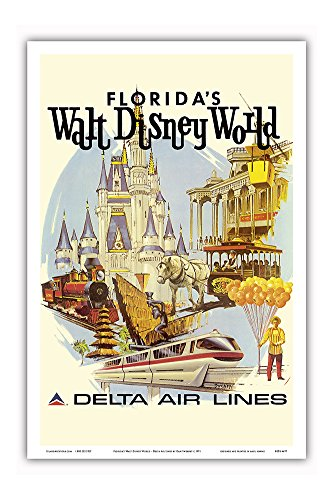 Florida's Walt Disney World - First Year of Operation - Delta Air Lines - Vintage Airline Travel Poster by Daniel C. Sweeney c.1971 - Master Art Print - 12in x 18in