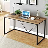 reclaimed wood desk FOLUBAN Rustic Industrial Computer Desk,Wood and Metal Writing Desk, Vintage PC Table for Home Office, Oak 55 inch