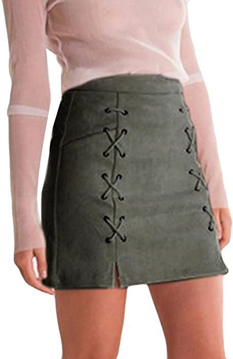 fb383e28a Womens Sexy High Waist Lace up Bodycon Faux Bandage Suede Split Tight Mini  Skirt,[