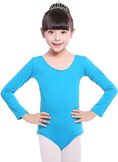 Children Girls Leotard Gymnastic Ballet Dance Long Sleeve Shiny Sport Dancewear