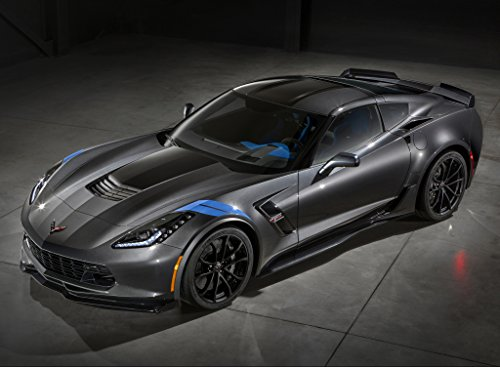 Chevrolet Corvette (C7) Grand Sport (2017) Car Print on 10 Mil Archival Satin Paper Black Front Side Static View 18