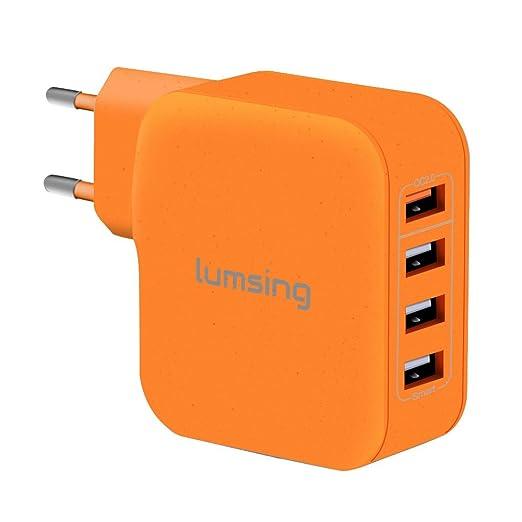 53 opinioni per Lumsing Caricabatterie da muro 4 Porte USB (3 Porte Intelligenti + 1 Porta Quick