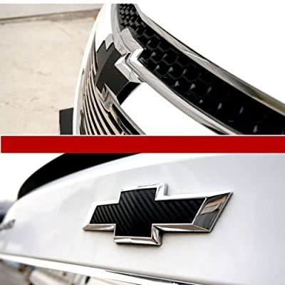 2 pcs Carbon Fiber Chevy Bowtie Emblem Overlay Sheets Front/Back Vinyl Decal Wrap (Black): Arts, Crafts & Sewing