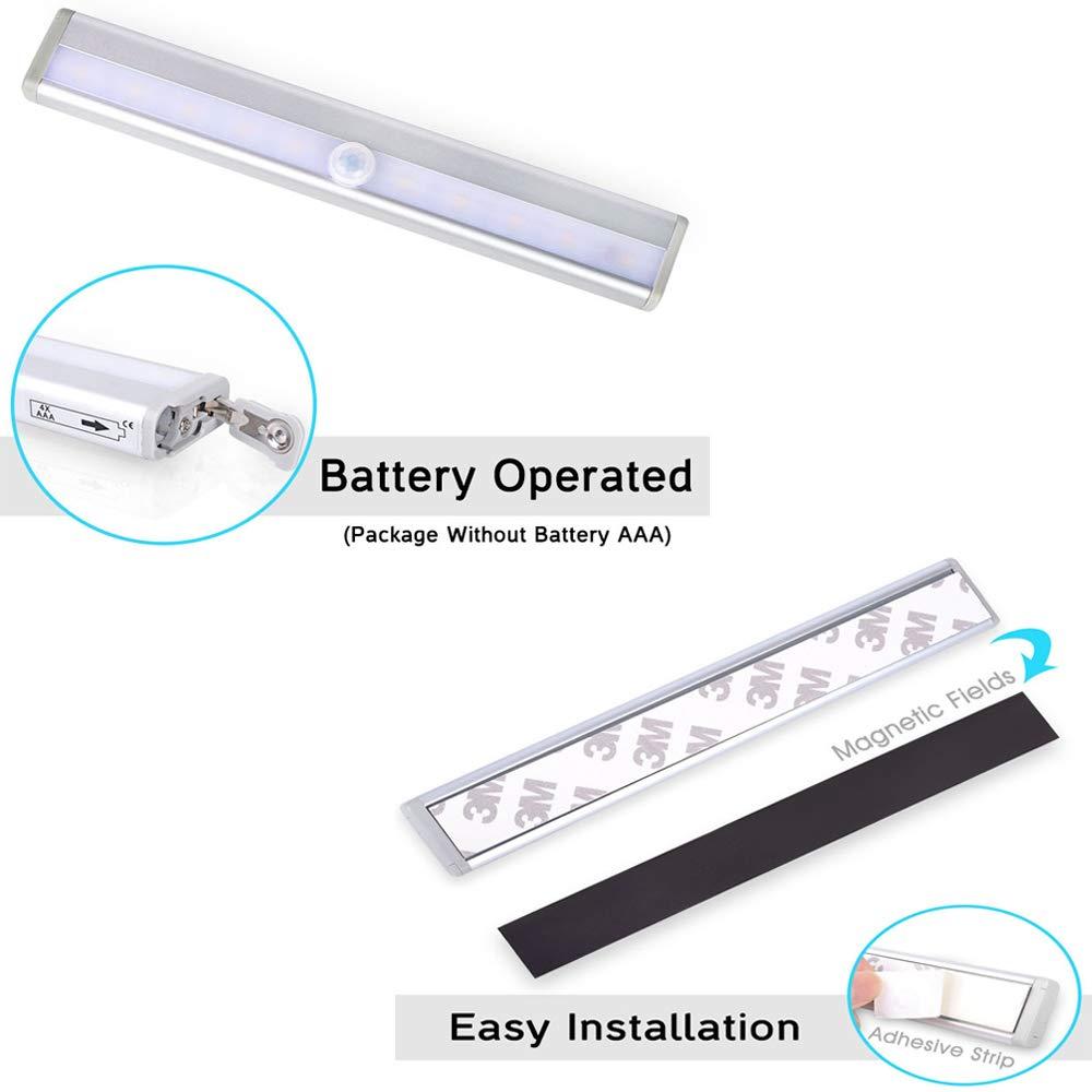 Xglysmyc 10 LED Infrared Induction Light Motion Sensor Night Light Closet Light Stick-on Anywhere Battery Operated Portable Wireless Light for Wardrobe Corridor Cabinet Bathroom Basement etc- 3 Pack