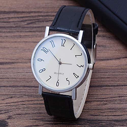 Men Wrist Watch, Synthetic Leather Band Round Analog Quartz Watch Bracelet Bangle