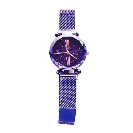 Slri SIridescentZB Reloj Mujer Esfera Estrella Redonda, Correa Metalica Cuarzo magnético Azul