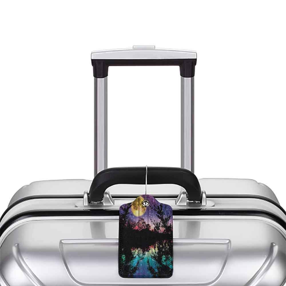 Multicolor luggage tag Nature Artwork Lake at Moon Light Stars Sky and Trees Water Reflection Contemporary Modern Theme Hanging on the suitcase Purple Yellow Fuchsia Black Teal Blue W2.7 x L4.6