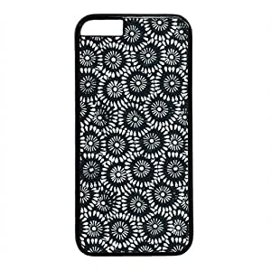 Black And White Daisy Flower Pattern Theme Case for iphone 6 4.7 PC Material Black