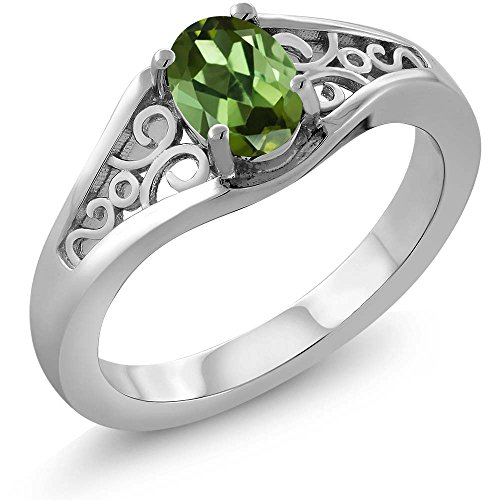 0.85 Ct Oval Green Tourmaline 925 Sterling Silver Women's Ring (Available 5,6,7,8,9) (Size 7)