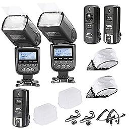 Neewer®*Advanced Wireless Lighting* I-TTL Flash with Wireless Slave Function Kit for Nikon D3, D3X, D4, D4S, D90, D300, D300S, D600, D610, D700, D800, D800E, D3000, D3100, D3200, D3300, D5000, D5100, D5200, D5300, D7000, D7100 - Includes: 2 Neewer I-TTL