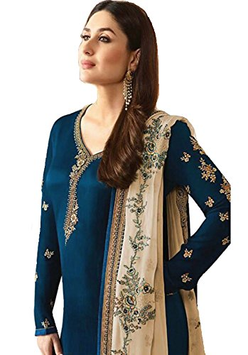 Delisa Ready Made New Designer Indian/Pakistani Fashion Dresses for Women (Crape Blue, X'LARGE-44) (Blue Salwar Suit)
