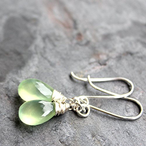 Teardrop Prehnite Earrings Sterling Silver, handmade pale lime briolettes