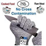 Dowellife Cut Resistant Gloves Food Grade Level 5 Protection, Safety Kitchen Cuts Gloves for Oyster Shucking, Fish Fillet Processing, Mandolin Slicing, Meat Cutting and Wood Carving. (Medium-2 Pairs)
