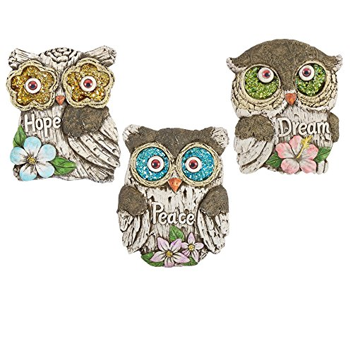 "Set of 3 Inspirational Quote Glittered Eyes Owl Garden Stepping Stones, 10""L x 8""W x 0.75""H, Dream Peace and ()"