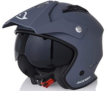 59-60 cm. /casco Jet Trial aperto ct-07 Unik/ Giallo fluorescente//Nero opaco colore r-graff Bianco//Rosso//Grigio Opaco L