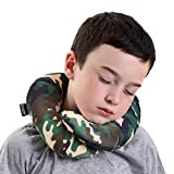 BCOZZY Kids Chin Supporting Travel Neck Pillow - Supports the Head, Neck and Chin in Maximum Comfort in Any Sitting Position. A Patented Product. Child Size, Camo