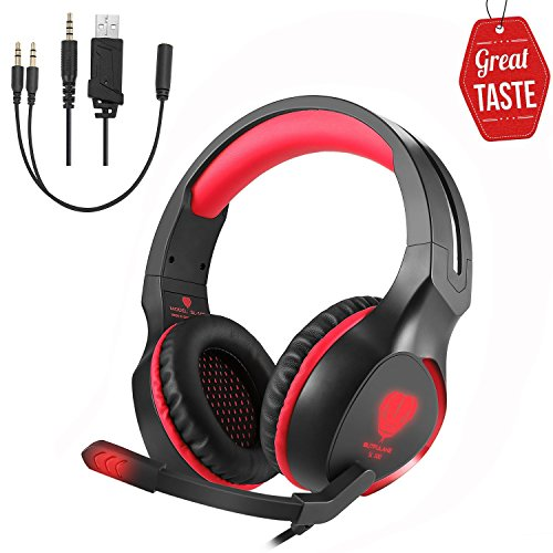 Game Headset SL-100 Gaming Headphone Surround Stereo Headphones for PS4 XBOX Over-Ear Earphone with Microphone LED Light for PC,Laptop,Tablet,Smart Phone (Red)