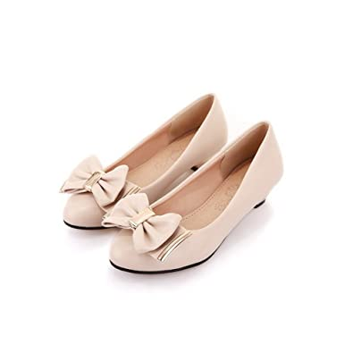 7750df3481c AmoonyFashion Womens Closed Round Toe Low Heel Chunky Heels PU Solid Pumps  with Bowknot and Metal