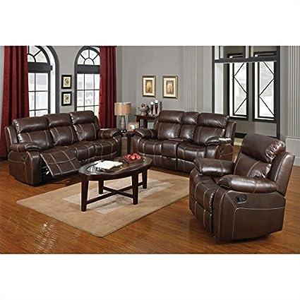 Amazon.com | Coaster Myleene Leather 3 Piece Reclining Leather Sofa ...