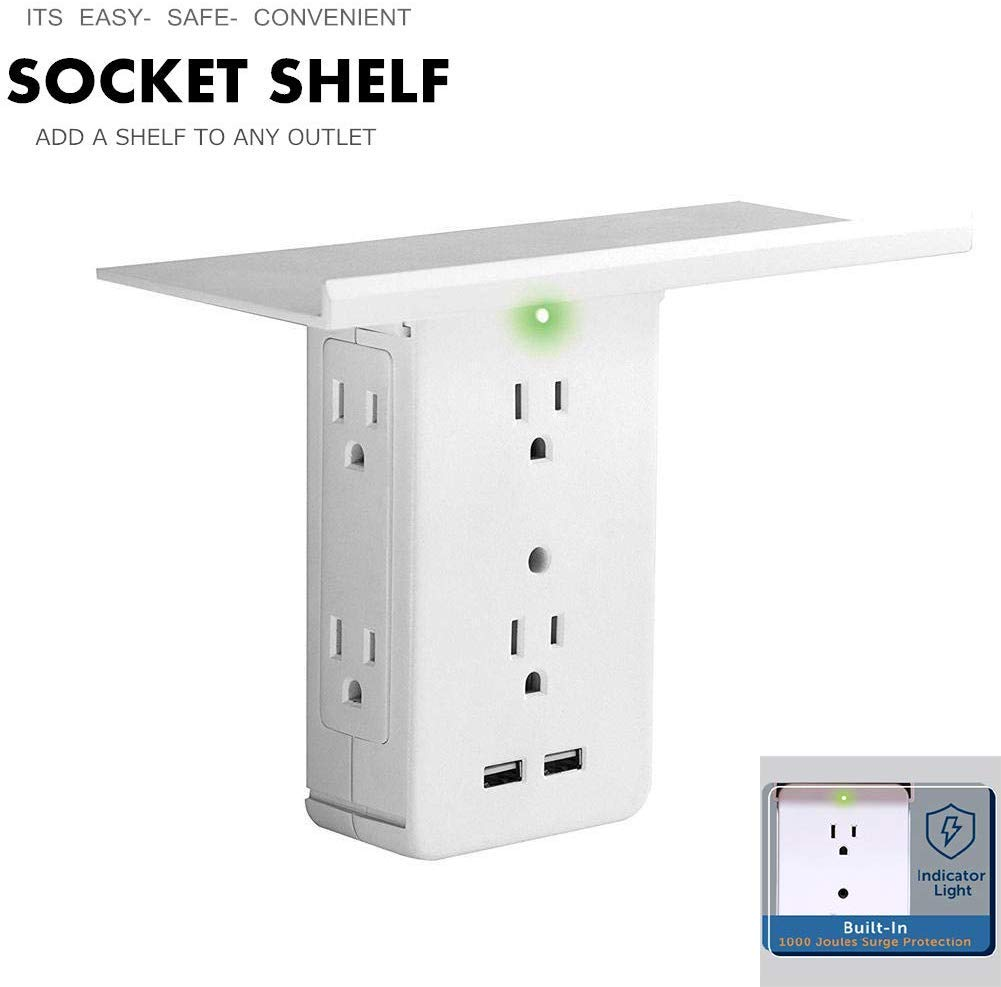 Socket Shelf- 8 Port Surge Protector Wall Outlet, Quick Charging Port Multiple Adapter, USB Charger Wall Mount Outlet, Socket with Shelf by YPDF