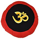 YogaAccessories Round Cotton Zafu Meditation Cushion - Red/Black with Ohm