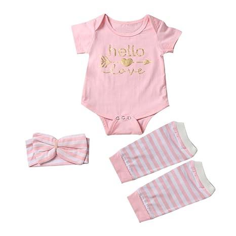 Para bebé, webla Infant bebé niña Pelele + calentadores de la pierna diadema 3 piezas
