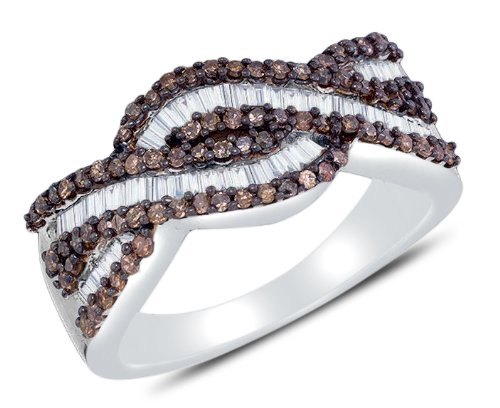 Sonia Jewels Size 6.5-925 Sterling Silver Invisible & Channel Set Round and Baguette Cut Chocolate Brown and White Diamond Ladies Womens Wedding Band OR Anniversary Ring (3/4 cttw.)
