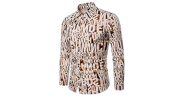 Yvelands Ofertas de liquidación! Camisas Informales para Hombres Camisa Ajustada de Manga Larga otoñal Blusa Top Estampada alfanumérica doblada ...