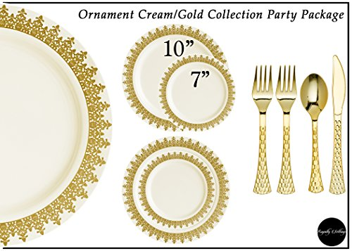 ament Collection Disposable Plastic Plates for Parties for 80 Persons, Includes 80 Dinner Plates, 80 Salad Plates, 160 Forks, 80 Spoons, 80 Knives, Cream with Gold Rim (Ornament Collection Set)