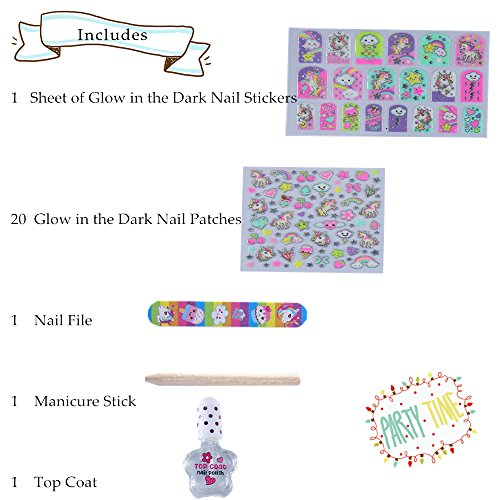 Hot Focus 77+ Rainbow Unicorn Glow in the Dark Kids Nail Art Kit–Nail Polish, Nail File, Glow in the Dark Stickers and Patches and Manicure Stick-Perfect Manicure Pedicure Birthday Girl Gift Idea by Hot Focus (Image #2)