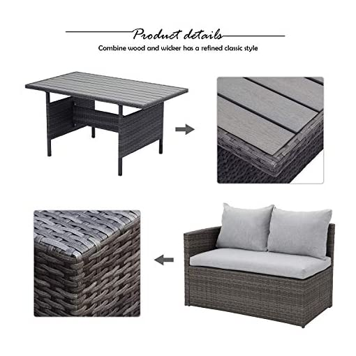 Garden and Outdoor Wisteria Lane Patio Furniture Set,7 Piece Outdoor Dining Sectional Sofa Couch with Dining Table and Chair, All Weather… patio furniture sets