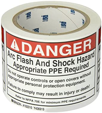 """Brady 102310 5"""" Width x 3.5"""" Height, B-302 High Performance Polyester, Black and Red on White Arc Flash and Shock Label, Header """"Danger"""""""