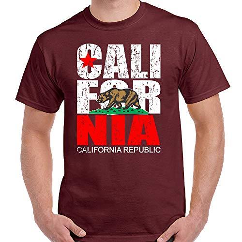 California Republic Flag Men's Vintage T-Shirt Maroon Small