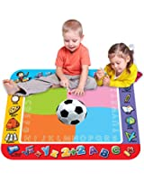 Premium Large Water Drawing Mat, Magic 3D Football Painting Pad, 4 Colored Doodle Mat + 2 Magic Pen+ 2 Cartoon Seal for Painting, Writing, Educational Toys for Children No Mess Coloring for Gifts