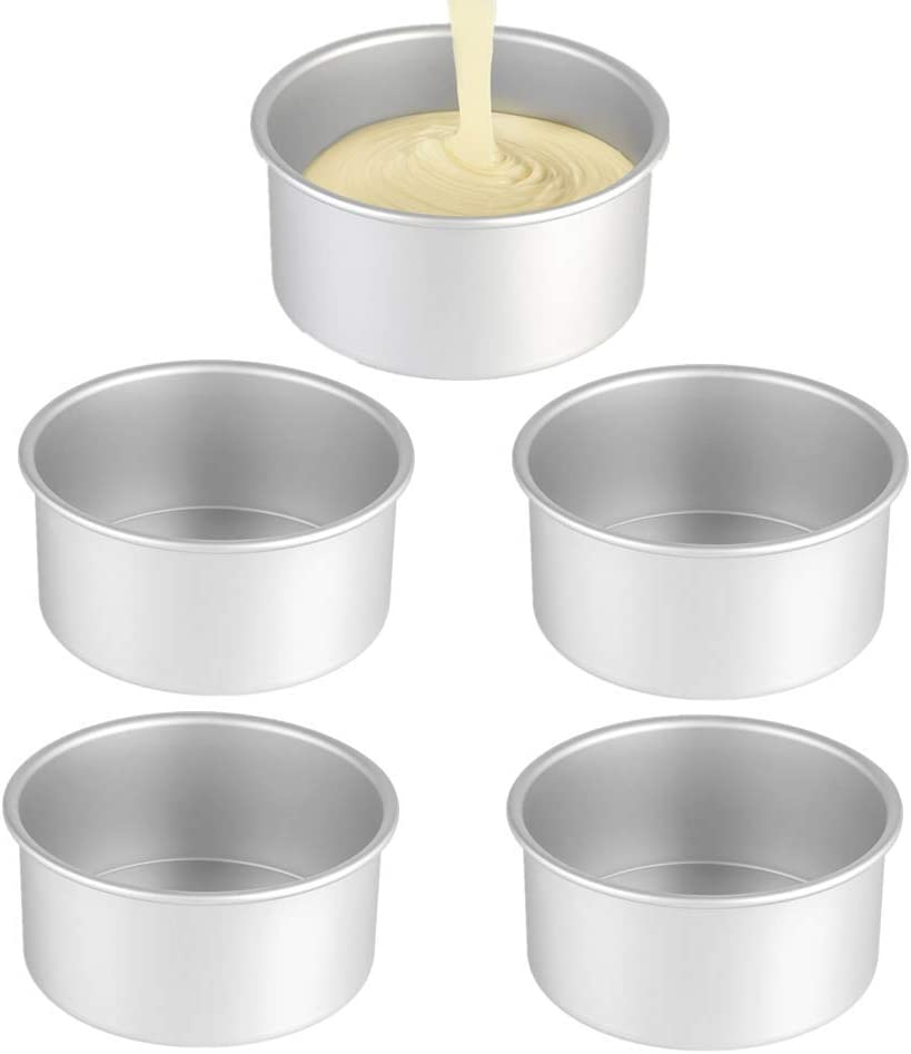 5Pack 5 Inch X 2 Inch Cake Pan, mini cake pan, round aluminum cake pan, used for family gatherings to bake mini cake pizza, quiche