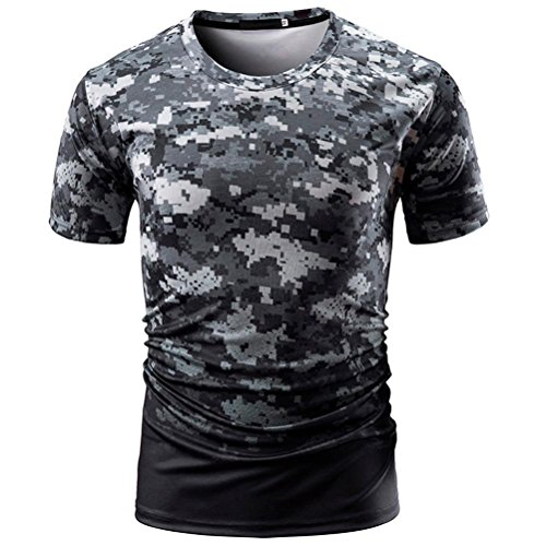 iLXHD Men's Casual Camouflage Print O Neck Pullover Short T-Shirt Top (Oversized Silk Blend Shirt)