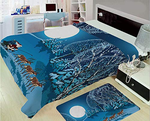 3D Printed Throw Blanket Custom Design Floor Mat Carpet Rug,Sleigh a Holy Night with Full Moon Snowy Winter,Well Keep Warm with Supersoft Hand Feeling,add a lot of Color to Your Life