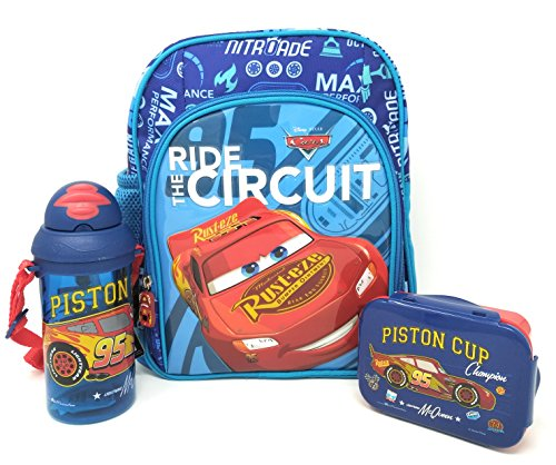 H M International Combo of Kid's PVC Embossed Backpack with Lunch Box and Water Sipper Bottle (10 Inch)