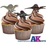 12 dinosaures Spinosaurus décorations comestibles en gaufrette pour cupcakes