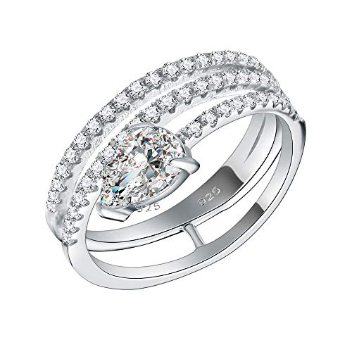 (Lavencious 925 Sterling Silver Rhodium Plated with Pear AAA CZ Stone 3 Lines Bridal Rings for Women Size 6-9 (Silver, 8))