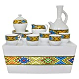 Ethiopian/Eritrean Coffee Cups with Rékébot, Abyssinian Coffee cups, Jebena, Rekebot, Ethiopian art, Eritrean Coffee, Habesha Coffee, Ethiopian Coffee ceremony, Full coffee Set (Tilet)