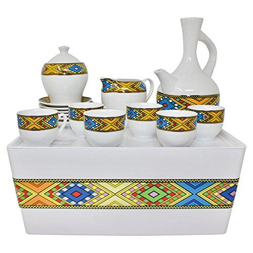 Ethiopian Coffee Ceremony - Ethiopian/Eritrean Coffee Cups with Rékébot, Abyssinian Coffee cups, Jebena, Rekebot, Ethiopian art, Eritrean Coffee, Habesha Coffee, Ethiopian Coffee ceremony, Full coffee Set (Tilet)
