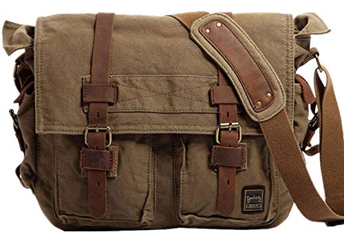 Berchirly Vintage Military Men Canvas Messenger Bag for 17.3Inch Laptop from Berchirly