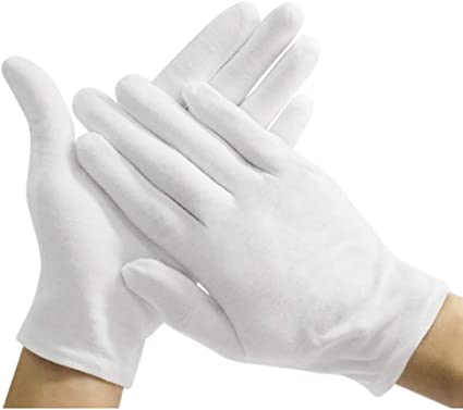 36 PAIRS WHITE COIN INSPECTION GLOVES COTTON LISLE OR BLEND JEWELRY LINER FILM