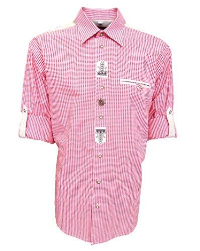 Trachtenhemd für Lederhosen mit Stickerei mittelrot, Hemdgröße:XL