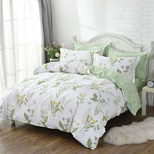 FADFAY Duvet Cover Set Cal King 4-Pcs Shabby Daisy and Lavender Flowers 100% Cotton Hypoallergenic Hidden Zipper Closure with Green Deep Pocket Fitted Sheet 4 Pieces Cal King Size 4 Piece Cal King Comforter