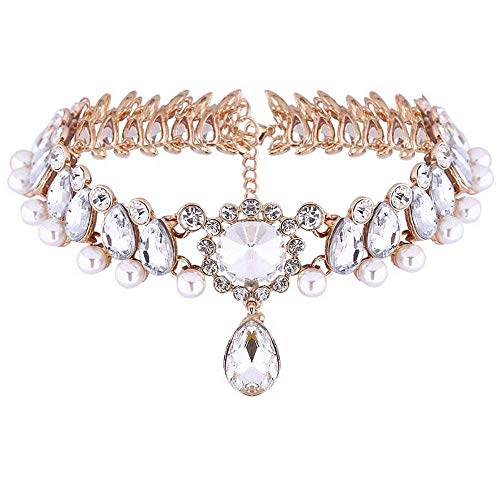 Womens Vintage Pearl Collar Crystal Diamond Chunky Choker Sexy Pendant Bib Necklace Fashion for Party Dress (Gold) (Rhinestone Party Collar)