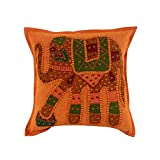 Handmade Orange Single Vintage Cushion Cover 17x17 Elephant Patchwork Pillow Covers Unique Cotton Throw Pillow By Rajrang
